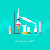 Chemical concept. Organic chemistry. Synthesis of substances. Border of benzene rings. Flat design.  Stock Image