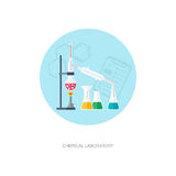 Chemical concept. Organic chemistry. Synthesis of substances. Flat design.  Stock Photography