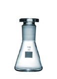 Chemical conical flask with a glass stopper isolated on white ba Stock Photos