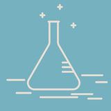 Chemical conical flask vector line icon. Erlenmeyer flask. Chemical laboratory equipment vector sign. Scientific research royalty free illustration