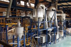 Chemical containers. In chemical factory Stock Image