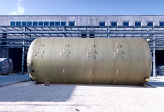Chemical containers on construction site Stock Photography