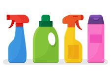 Chemical detergents. Set of colorful bottles cleaning agent. Vector stock illustration