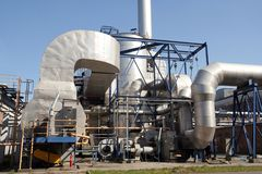 Chemical devices. Industrial facilities chemical factory in the sun Stock Photography