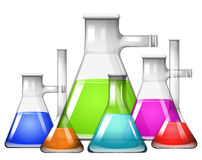Chemical in different size of beakers Royalty Free Stock Photo