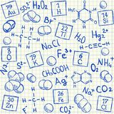 Chemical doodles on school squared paper. Vector illustration Stock Photo