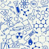 Chemical doodles seamless pattern Stock Image