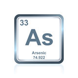 Chemical element arsenic from the Periodic Table. Symbol of chemical element arsenic as seen on the Periodic Table of the Elements, including atomic number and vector illustration
