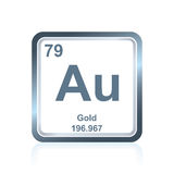 Chemical element gold from the Periodic Table. Symbol of chemical element gold as seen on the Periodic Table of the Elements, including atomic number and atomic Royalty Free Stock Photo