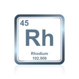 Chemical element rhodium from the Periodic Table Royalty Free Stock Photography