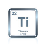 Chemical element titanium from the Periodic Table. Symbol of chemical element titanium as seen on the Periodic Table of the Elements, including atomic number and Royalty Free Stock Image