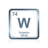 Chemical element tungsten from the Periodic Table. Symbol of chemical element tungsten as seen on the Periodic Table of the Elements, including atomic number and Royalty Free Stock Photography