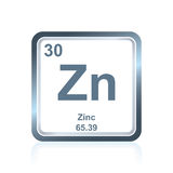 Chemical element zinc from the Periodic Table. Symbol of chemical element zinc as seen on the Periodic Table of the Elements, including atomic number and atomic Royalty Free Stock Photography