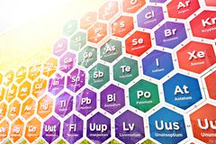 Chemical elements of periodic table stock photography