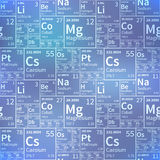 Chemical elements from periodic table, white icons on blurred background, seamless pattern Stock Photo