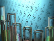 Chemical Elements. Test tubes with chemical elements inside and periodic table on background Stock Photography