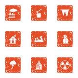 Chemical energy icons set, grunge style. Chemical energy icons set. Grunge set of 9 chemical energy vector icons for web isolated on white background Stock Photography