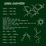 Chemical equation on green table Stock Images