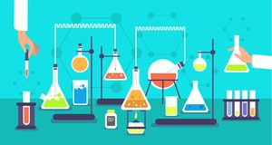 Chemical equipment in chemistry analysis laboratory. Science school research lab experiment vector background. Analysis experiment, lab research chemistry vector illustration