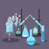Chemical equipment and experiments abstract background on purple. Chemistry concept. Cartoon vector illustration in flat style stock illustration