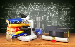 Chemical equipment for students on the table next to the diploma and academic hat on the background of a school board with a drawi. Ng. 3d illustration Royalty Free Stock Photography