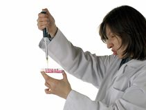 Chemical experience. Scientist spends chemical experiences in laboratory. Isolated on white background Stock Photos