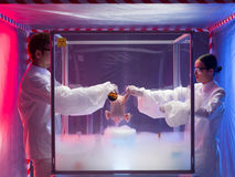 Chemical experiments with raw chicken. Two scientists, a men and a woman, the men pouring a chemical substance on a raw chicken in a protection enclosure filled Royalty Free Stock Image