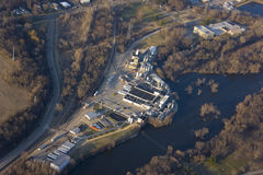 Chemical factory. Aerial view of a chemical manufacturing factory Royalty Free Stock Images