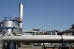 Chemical factory. Industrial facilities, chemical factory,shining equipment Royalty Free Stock Photos