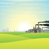Chemical Factory on Green Meadow Royalty Free Stock Images