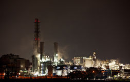 Chemical Factory At Night Stock Image