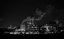 Chemical Factory At Night Stock Images