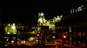 Chemical Factory at Night. This is a Picture of a Chemical Factory with all it's beauty at night Stock Photos