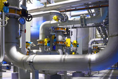 Chemical factory. The pipeline of a high pressure in factory shop royalty free stock photography