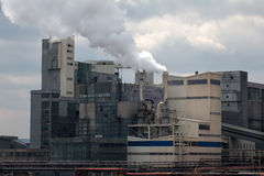 Chemical factory with smoke Royalty Free Stock Photography
