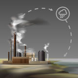 Chemical factory smoke. Vector chemical factory with smoke from pipes and overcast weather, air pollution concept Royalty Free Stock Photo