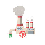 Chemical factory vector illustration. Plant pouring wastes. Ecological problems and environmental pollution infographics element Royalty Free Stock Image