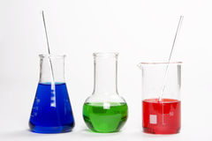 Chemical flask. Laboratory equipment for liquid testing. Red liquid Royalty Free Stock Photos