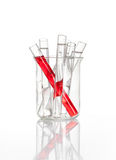 Chemical flask with a laboratory test tubes inside. Chemical flask with a glass test tubes inside, isolated Royalty Free Stock Image
