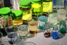 Chemical in flask Stock Images