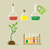 Chemical flask and plant vector illustration Royalty Free Stock Photography
