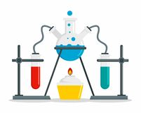 Chemical flask on stand concept background, flat style royalty free illustration