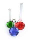 Chemical flasks. On white background - 3d render Royalty Free Stock Photography