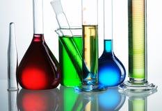 Chemical flasks stock photos