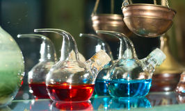 Chemical flasks. With reagents in laboratory stock photo