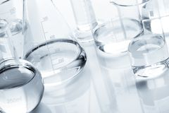 Chemical flasks with a clear liquid Stock Photo