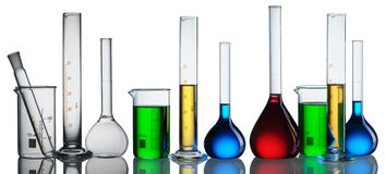 Chemical flasks collection. Chemical flasks with reagents collection over white Royalty Free Stock Image