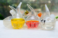 Chemical flasks filled with the chemical liquid Royalty Free Stock Images