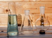 Chemical flasks for the laboratory. royalty free stock photo