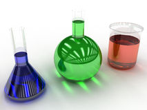 Chemical flasks with liquid  #2 Stock Photography